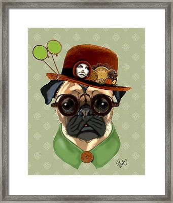 Pug Steampunk In A Bowler Hat Framed Print by Kelly McLaughlan
