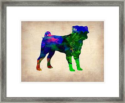 Pug Watercolor  Framed Print by Naxart Studio
