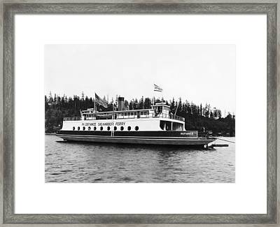 Puget Sound Ferry Boat Framed Print by Underwood Archives
