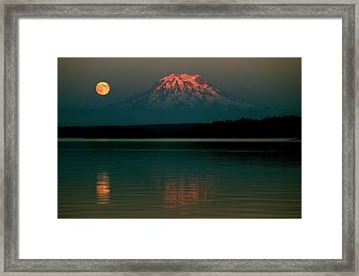 Puget Sound Moonrise Framed Print