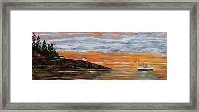 Puget Sound Sunset Framed Print by Jack G  Brauer