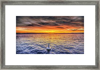 Puget Sound Sunset Framed Print by Spencer McDonald