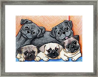 Pugs Party Of Five Framed Print by Kim Niles