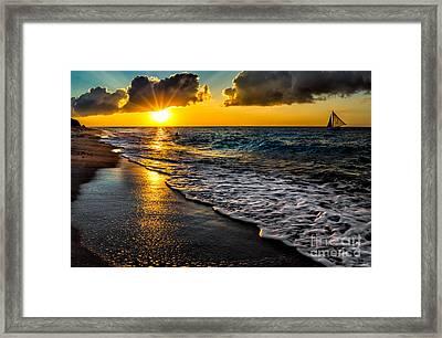 Puka Beach Sunset Framed Print by Adrian Evans