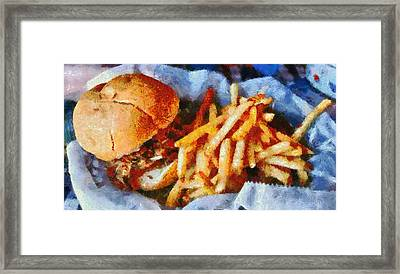 Pulled Pork Sandwich And French Fries Framed Print by Dan Sproul