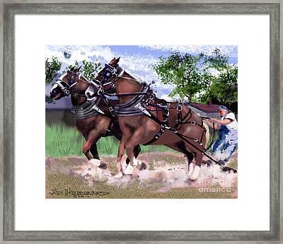 Pulling Horses Framed Print by Jim Hubbard