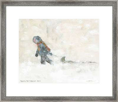 Pulling The Toboggan Home Framed Print by David Dossett