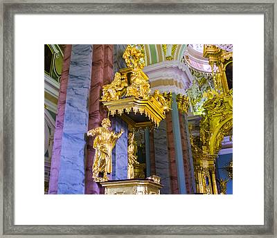 Pulpit - Cathedral Of Saints Peter And Paul - St Petersburg - Russia Framed Print