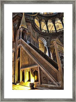 Pulpit In The Aya Sofia Museum In Istanbul  Framed Print
