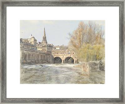 Framed Print featuring the digital art Pulteney Bridge Bath by Ron Harpham