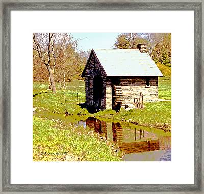 Pump House And Water Wheel In Autumn Digital Art Framed Print by A Gurmankin