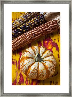 Pumpkin And Indian Corn Framed Print by Garry Gay
