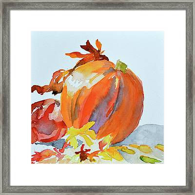 Framed Print featuring the painting Pumpkin And Pomegranate by Beverley Harper Tinsley
