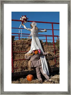 Pumpkin Bride And Groom Framed Print by Iris Richardson