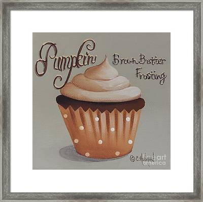 Pumpkin Brown Butter Frosting Cupcake Framed Print by Catherine Holman