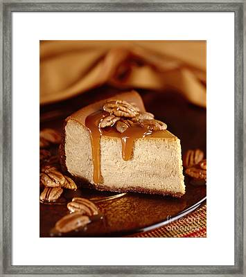 Pumpkin Cheese Cake With Pecans And Caramel Sauce Framed Print