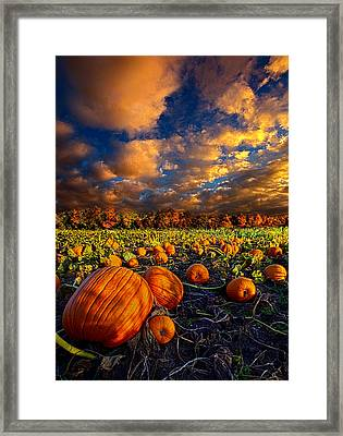 Pumpkin Crossing Framed Print