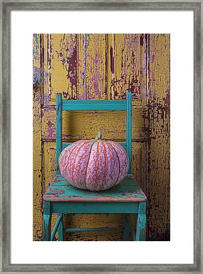 Pumpkin On Green Chair Framed Print by Garry Gay