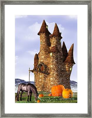 Pumpkin Patch Unicorn Framed Print