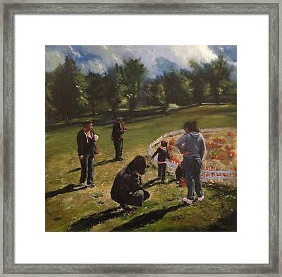 Pumpkin Picking Framed Print by Victor SOTO