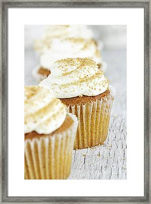 Pumpkin Spice Cupcake With Cream Cheese Icing Framed Print
