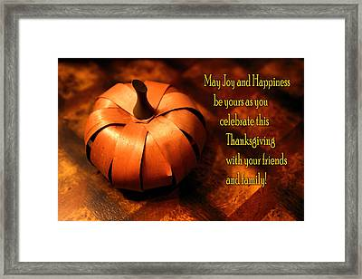 Pumpkin Thanksgiving Card Framed Print by Linda Phelps