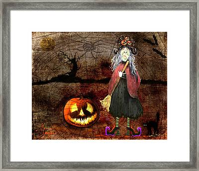Pumpkinella The Magical Good Witch And Her Magical Cat Framed Print