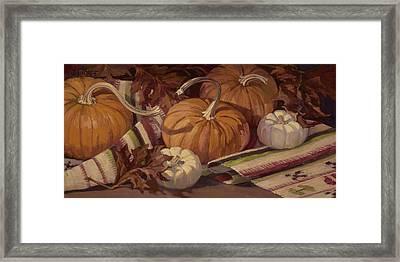 Pumpkins And Leaves Framed Print by Jane Thorpe
