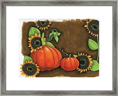 Pumpkins And Sunflowers Framed Print by Anne Tavoletti
