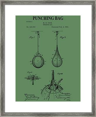 Punching Bag Patent On Green Framed Print by Dan Sproul
