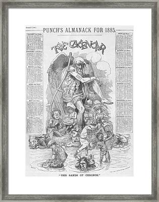 Punch's Almanack For 1885 Framed Print by Konni Jensen