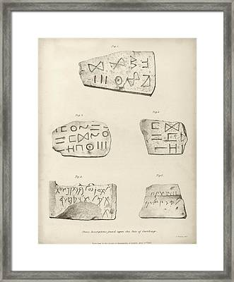 Punic Inscriptions From Carthage Framed Print by Middle Temple Library
