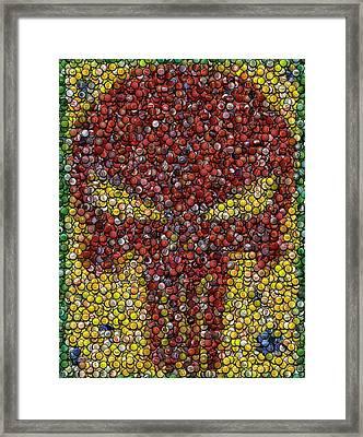 Punisher Bottle Cap Mosaic Framed Print by Paul Van Scott
