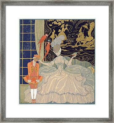 Punishing The Page  Framed Print by Georges Barbier