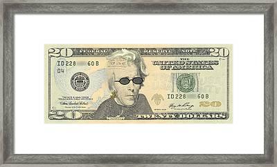 Punk 20 Dollar Bill Framed Print by Robert Kernodle