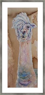 Framed Print featuring the painting Punk Rock Alpaca by Christy  Freeman