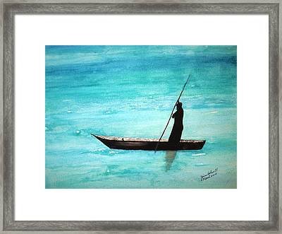 Framed Print featuring the painting Punt Zanzibar Boat by June Holwell