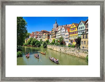 Punts On River Neckar In Lovely Old Tuebingen Germany Framed Print by Matthias Hauser