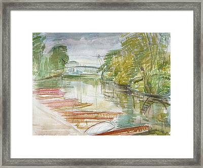 Punts On The Cherwell Wc On Paper Framed Print