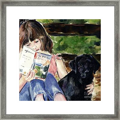 Pup And Paperback Framed Print by Molly Poole