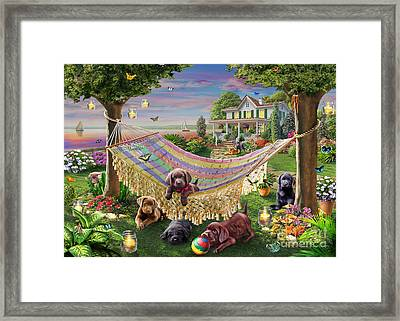 Puppies And Butterflies Framed Print