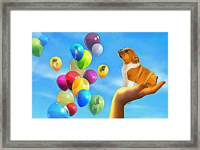 Puppy Balloon-a-gram Framed Print by Anthony Caruso