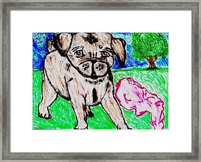 Puppy Daisy Red Blanket Outside Framed Print