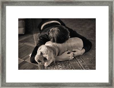 Puppy Love Bw Framed Print by JC Findley