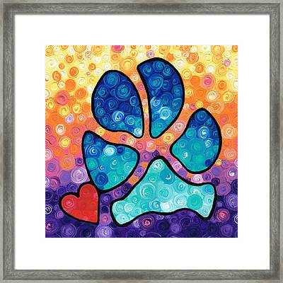 Puppy Love - Colorful Dog Paw Art By Sharon Cummings Framed Print