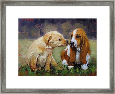 Puppy Love Framed Print by Laura Lee Zanghetti