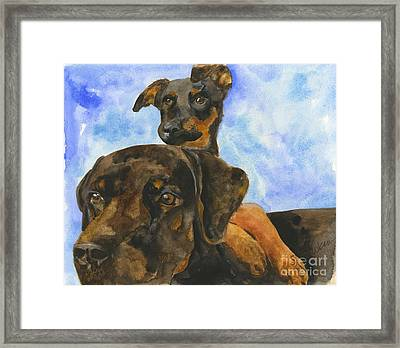 Puppy Pals Framed Print by Sheryl Heatherly Hawkins