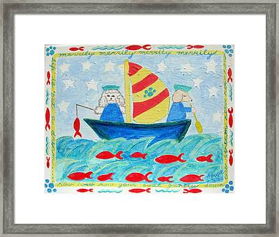 Puppy Sailors Framed Print by Diane Pape