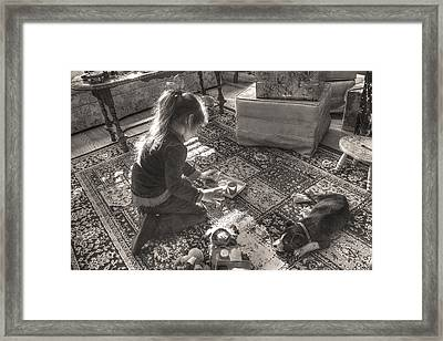Pups At Play Framed Print by William Fields