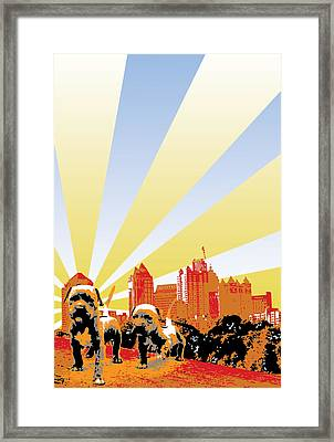 Pups In The Park Framed Print by Miguel Rios